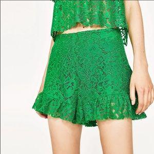 Zara Green Lace Shorts